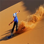Sandboarding at Maranjab desert - Iran desert tour package