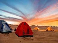 camping at varzaneh desert